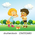 illustration of a girl and a... | Shutterstock . vector #156552683