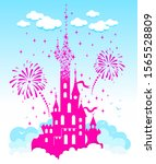 princess castle. fantasy pink... | Shutterstock .eps vector #1565528809
