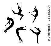 five black silhouettes dancing... | Shutterstock . vector #156553304