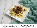 Beef Tips Over Bow Tie Pasta...