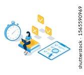 concept of online exam  online... | Shutterstock .eps vector #1565590969