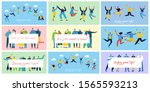 concept of young people jumping ... | Shutterstock .eps vector #1565593213