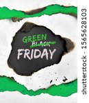 """Small photo of Green Friday concept, hole burned in white and green paper. Text """"Black Friday Sale"""" with word """"Black"""" crossed out. Strikethrough or strikeout effect for """"Black"""" to be exchanged on """"Green""""."""