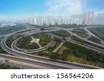 aerial view of highway viaduct | Shutterstock . vector #156564206