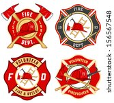 set of fire department emblems... | Shutterstock .eps vector #156567548