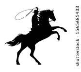 Cowboy Riding Rearing Up Horse...