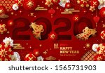 2020 chinese new year greeting... | Shutterstock .eps vector #1565731903