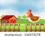 illustration of a hen at the... | Shutterstock . vector #156573278