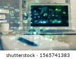 multi exposure of computer on... | Shutterstock . vector #1565741383