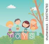 kids sitting on blocks alphabet ... | Shutterstock .eps vector #1565746783