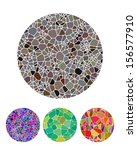Crushing abstract circle biology pattern. Micro round logo element. Colorful precious stone icons set. You can use in fine jewelry, textiles, posters background, biotechnology and medical industries