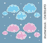 blue clouds with white border.... | Shutterstock .eps vector #156581693