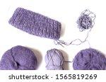 Purples Yarn Balls On The White ...