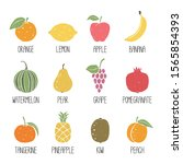 set of fruits icons isolated on ... | Shutterstock .eps vector #1565854393