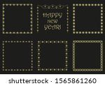 set of christmas gold square... | Shutterstock .eps vector #1565861260