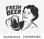 happy woman holding a beer mug. ... | Shutterstock .eps vector #1565894383