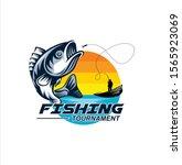fishing logo design template... | Shutterstock .eps vector #1565923069