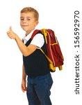 schoolchild giving thumb up... | Shutterstock . vector #156592970