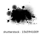 black spots of paint on a white ... | Shutterstock .eps vector #1565941009