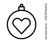 christmas ball with heart icon...