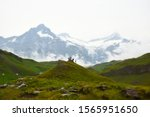 Group of hikers in the Jungfrau Region with the Swiss Alps in the background, Grindelwald, Switzerland - stock photo
