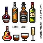 modern pixel art flat alcohol...   Shutterstock .eps vector #156595394