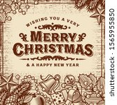 merry christmas vintage card... | Shutterstock .eps vector #1565955850