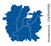 blue outline map of ahmedabad | Shutterstock .eps vector #1565964580
