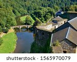 Bouillon Belgium. Bouillon medieval castle.  A beautiful view of the old bridge over the River Semois from the walls of the fortifications of the old castle.