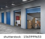 storage hall with open storages ... | Shutterstock . vector #1565999653