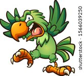 angry cartoon green parrot with ... | Shutterstock .eps vector #1566039250