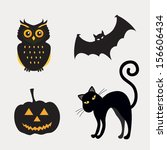 halloween set of element.... | Shutterstock .eps vector #156606434