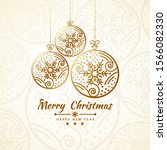 merry christmas getting card... | Shutterstock .eps vector #1566082330