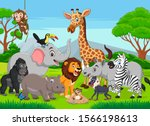 cartoon wild animals in the...