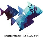 silhouettes of tropical fish. within the seabed with coral and marine life. white background, vector illustration - stock vector