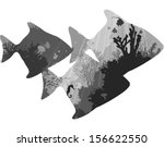 silhouettes of tropical fish. within the seabed with coral and marine life. white background, vector illustration, black and white