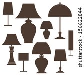 Lamp. Icon Set. Isolated On...