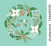 christmas wreath print design | Shutterstock .eps vector #156640220