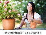young woman is working in the... | Shutterstock . vector #156640454
