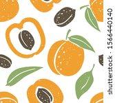 peach seamless pattern. ripe...   Shutterstock .eps vector #1566440140
