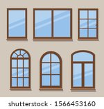 wooden windows types icons set...   Shutterstock .eps vector #1566453160