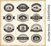 vintage organic farming stamps... | Shutterstock . vector #156645446