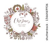 round merry christmas and happy ...   Shutterstock .eps vector #1566469936