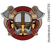 viking vector helmet logo ... | Shutterstock .eps vector #1566483733