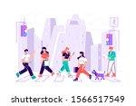 pedestrians people walking on...   Shutterstock .eps vector #1566517549