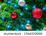 christmas tree decorated...   Shutterstock . vector #1566520000