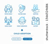 child adoption thin line icons...   Shutterstock .eps vector #1566524686