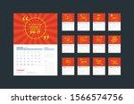 wall calendar planner template... | Shutterstock .eps vector #1566574756