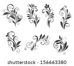 seven floral elements isolated... | Shutterstock .eps vector #156663380