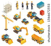 isometric construction set with ... | Shutterstock .eps vector #1566672553